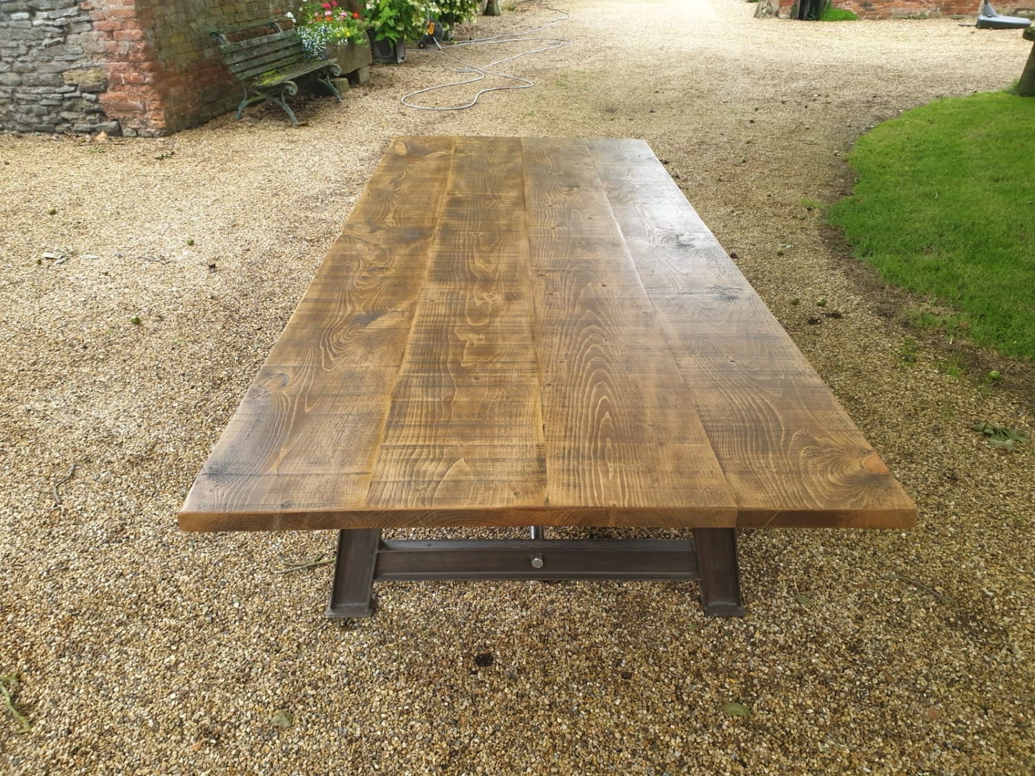 Industrial Dining Table with A-Frame Steel Girder Base