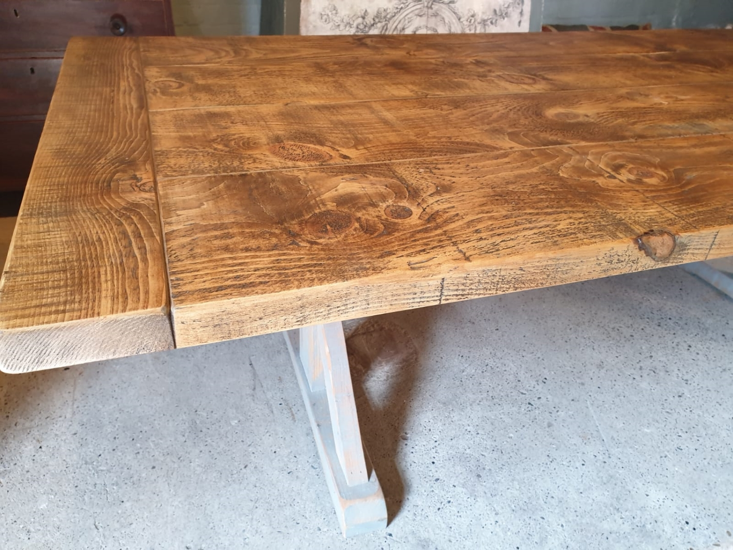 Union Base Reclaim Grey Distress Effect with Breadboard Ends & Rustic Finish