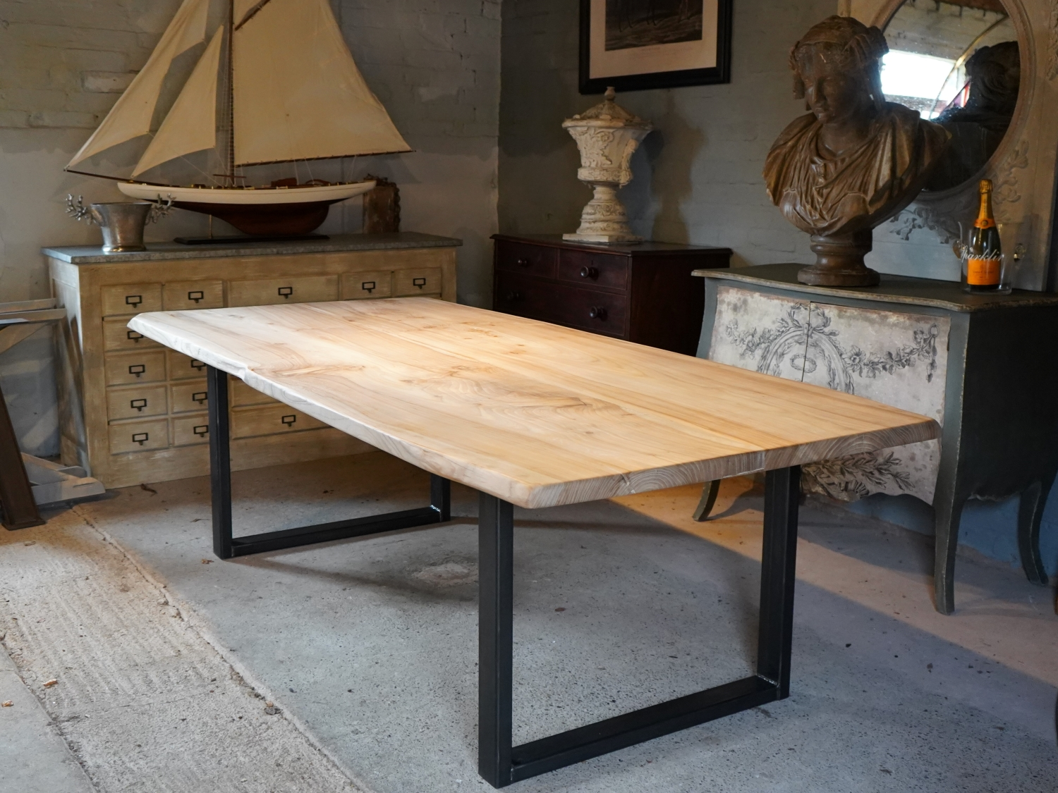 Hand made Solid Elm Live Edge Table
