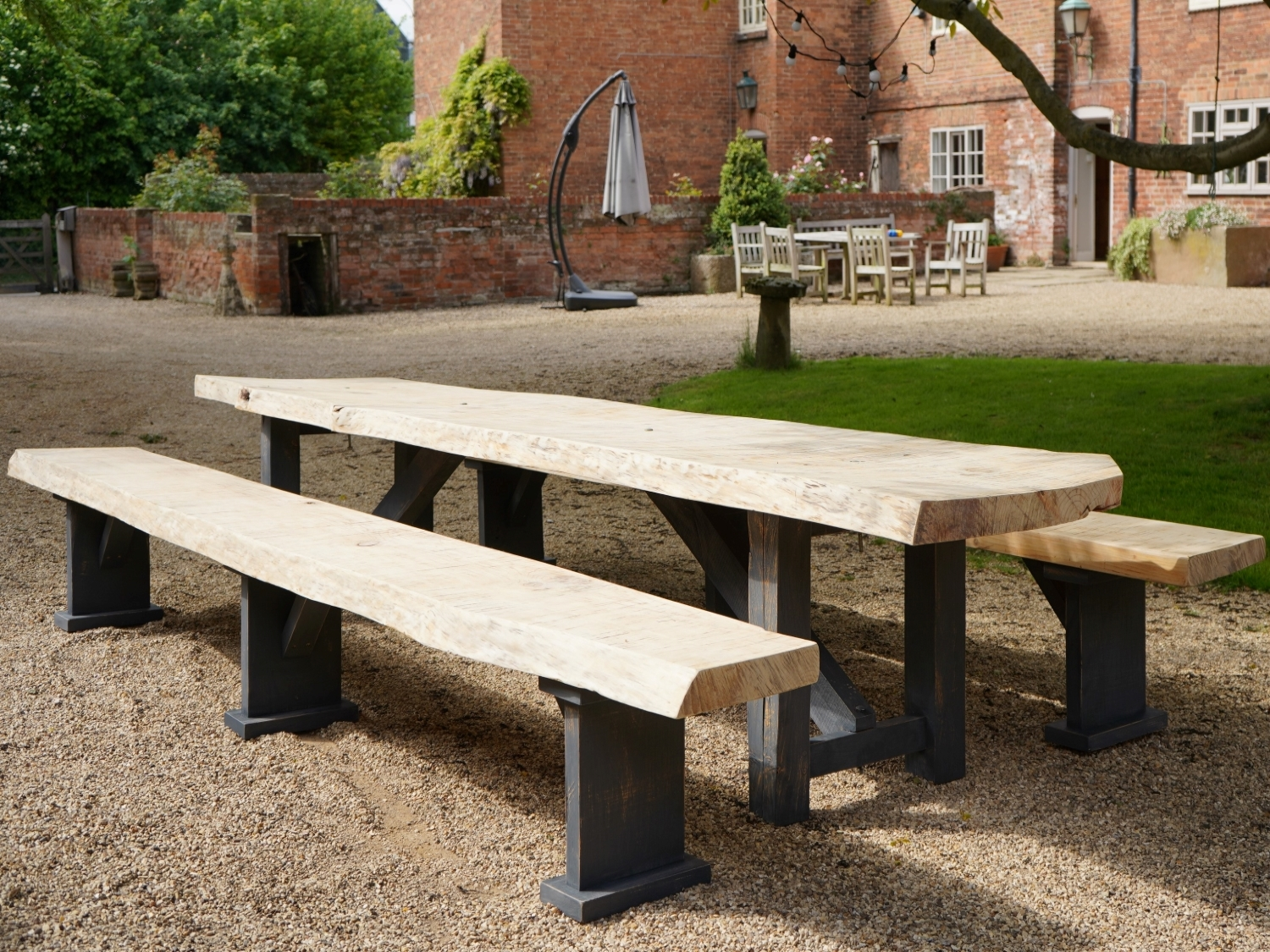 Waney Edge Sycamore Dining Table With Matching Benches