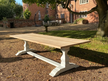 Pedestal Base Oak Refectory Dining Table