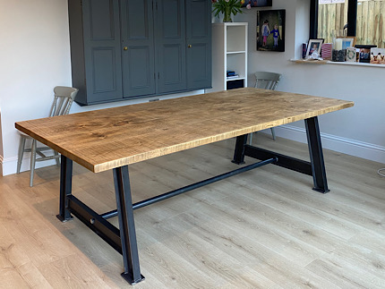 Steel Girder Leg Rustic Table
