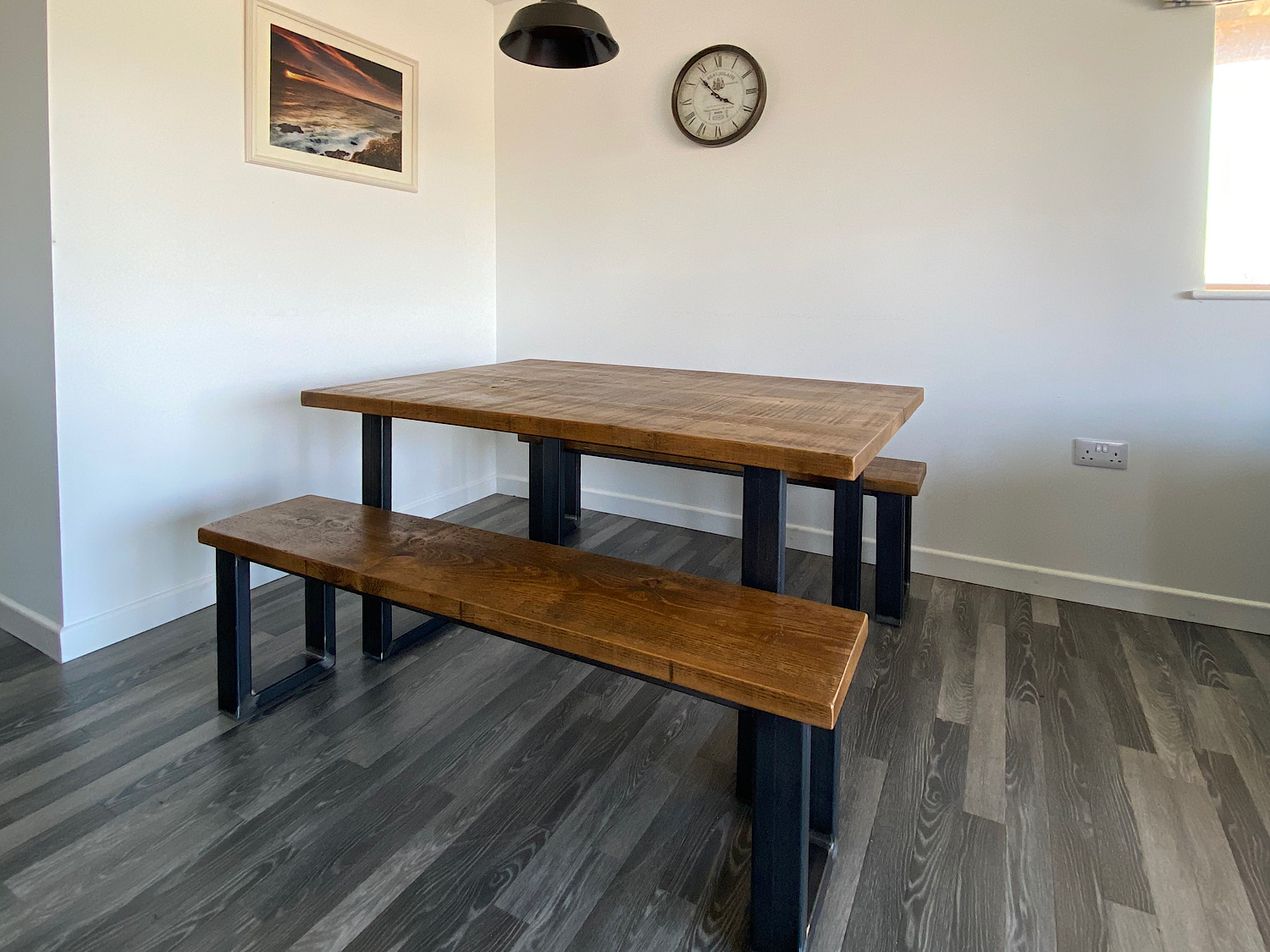 Thick Industrial Square Leg Dining Table