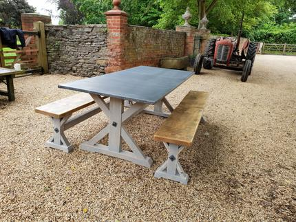 Union Base Zinc Top Dining Table And Matching Benches