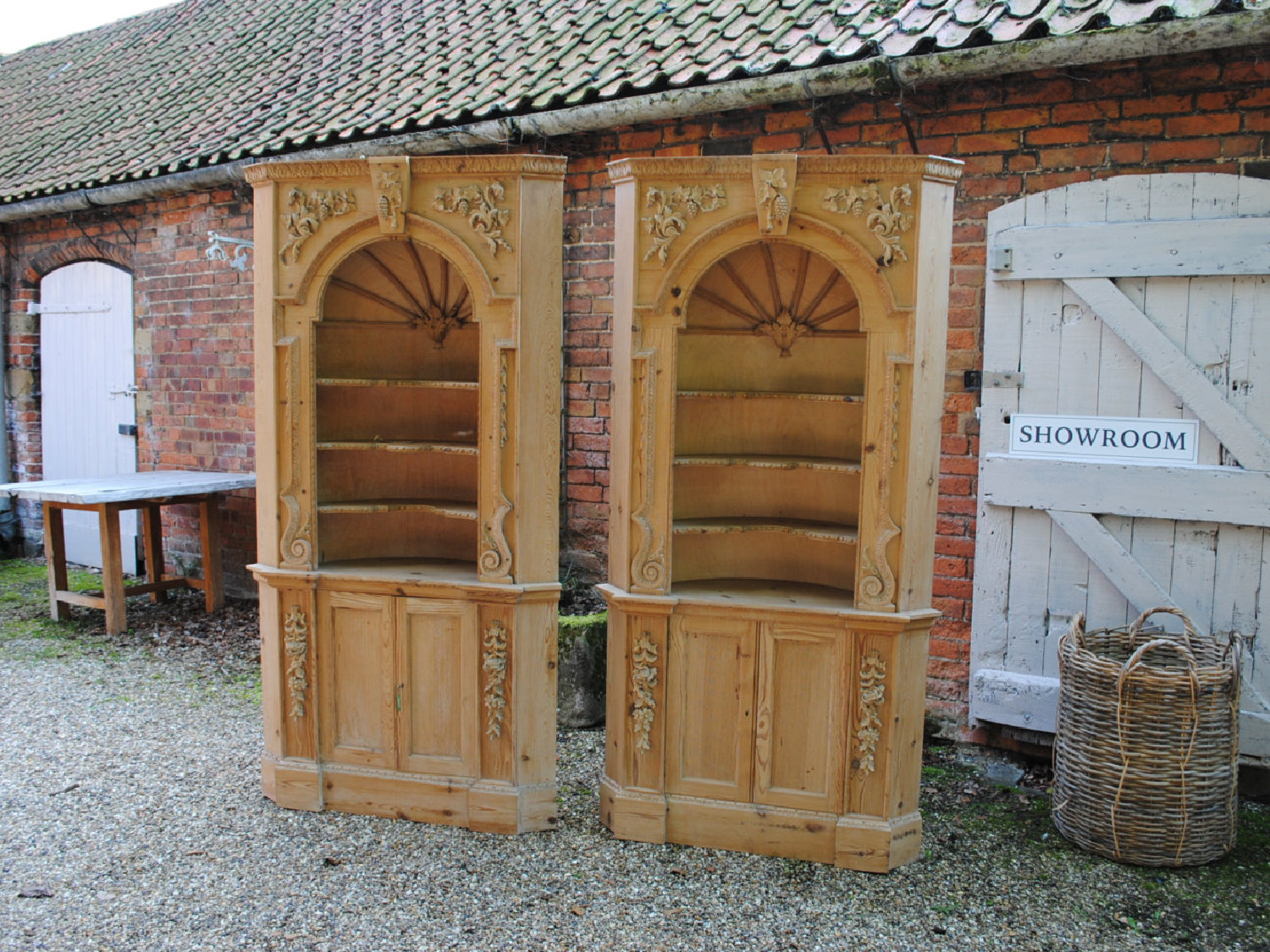 A Pair Of Barrel Back Vintage Pine Corner Cabinets