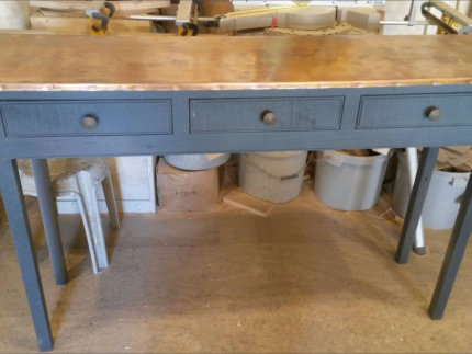 Handmade Serving Sideboard with  Copper Top and Paint Effect base